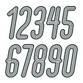 Set of stylish disco vector digits, modern numerals collection. Funky italic tall numerals from 0 to 9 best for use in poster art Royalty Free Stock Photo
