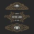 The set of stylish retro logo and emblem templates. Stock vector.