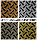 Set of 4 stylish seamless patterns with golden, silver and bronze fractal ornament on black background Royalty Free Stock Photo