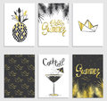 A set of stylish summer cards. Pineapple, cocktail, paper boat and palm branches in vector. Summer inscriptions. Lettering.