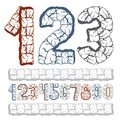 Set of stylish vector digits, modern numerals collection. Bold n