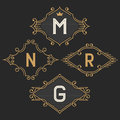 The set of stylish vintage monogram emblem and logo templates.
