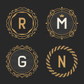 The set of stylish vintage monogram emblem and logo templates. Royalty Free Stock Photo