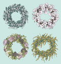 Set of stylish wreaths drawings.  Flowers decoration. Floral design. Vector illustration.