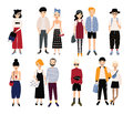 Set of stylish young people and love couples. Different guys and girls in fashionable clothes, accessories. Colorful