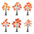 Set of stylize happy thanksgiving background with red autumn tree on morning background can be use as flyer banner or poster Royalty Free Stock Photos