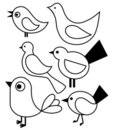 Set of stylized birds Royalty Free Stock Photo