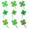 Set of stylized  clover leaves Royalty Free Stock Photo