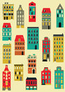 Set stylized colorful houses Royalty Free Stock Photo