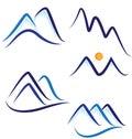 Set of stylized mountains logos