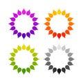 Set of stylized sun logo. Round icon of sun, flower. Isolated yellow, green, red, orange, violet, purple, black logo on white back Royalty Free Stock Photo