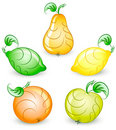 Set of stylized vector fruits Royalty Free Stock Images