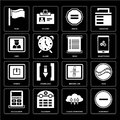Set of Substract, Cloud computing, Calculator, Broken link, Powe Royalty Free Stock Photo