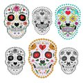 Set of sugar skulls illustrations. Design elements for poster, postcard, banner, print. Vector illustration