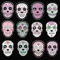 Set of sugar skulls illustrations. Design elements for poster, postcard, flyer, banner. Vector illustration