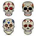 Set of Sugar skulls isolated on white background. Day of the dead