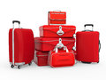 Set of suitcases isolated on white background d render Stock Photography