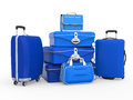 Set of suitcases isolated on white background d render Royalty Free Stock Photos