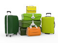 Set of suitcases isolated on white background d render Royalty Free Stock Images