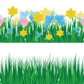 Set of summer banners with green grass and colorful flowers on white background Stock Image