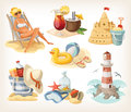 Set of summer beach elements Royalty Free Stock Photo