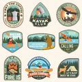 Set of Summer camp badges, patches. Vector. Concept for shirt or logo, print, stamp, patch or tee. Design with coffee Royalty Free Stock Photo