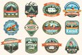 Set of Summer camping badges, patches. Vector Concept for shirt or logo, print, stamp, patch or tee. Design with tent Royalty Free Stock Photo