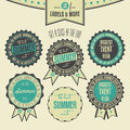 Set of summer events related vintage labels collection Stock Images