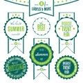 Set of summer events related vintage labels collection isolated on white background Royalty Free Stock Images