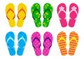 Set of summer flip flops. Vector illustration