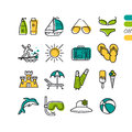 Set summer holiday linear colored icons