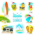 Set of summer holidays elements Royalty Free Stock Photo