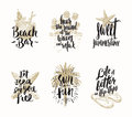 Set of summer holidays and tropical vacation illustrations Royalty Free Stock Photo