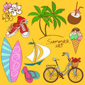 Set of summer icons colorful cartoon Stock Images