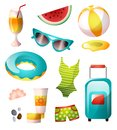 Set of summer icons, colorful design, sunny beach Royalty Free Stock Photo