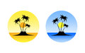 Set of summer icons palm trees and beach Royalty Free Stock Photo