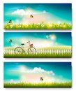 Set of summer nature landscape banners with flowers Royalty Free Stock Photo