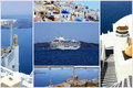 Set of summer photos in Santorini island Stock Photos