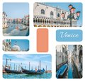 Photo collage from Venice - gondolas, canals, street lights with pink glass, Dodge Palace, set of travel pictures, Venice, Italy. Royalty Free Stock Photo