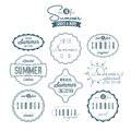 Set of summer related vintage labels collection isolated Royalty Free Stock Image