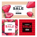 Set of summer sale banners with hand drawn red strawberries.