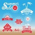 Set of summer sale promotion badge logo design retro badge design for logo banner tag insignia emblem label element adverti labels Stock Photo