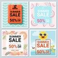 Set of summer sale template banner