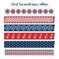 Set of summer sea washi tapes, ribbons,  elements, Royalty Free Stock Photo