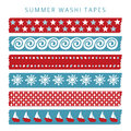 Set of summer sea washi tapes, ribbons,  elements, patterns Royalty Free Stock Photo