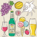 Set of  summer symbols, clams, shells, cocktail, fruits, beer, i Royalty Free Stock Photo