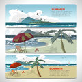Set Of summer template banners gift cards. Branding design Royalty Free Stock Photo