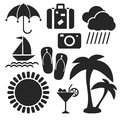 Set of summer web and mobile icons. Vector. Royalty Free Stock Photo