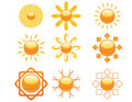 Set of sun icons Stock Photography