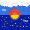 Set of sun and moon day and night vector Stock Photo